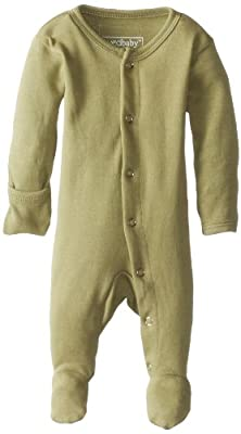 L'ovedbaby Unisex-Baby Organic Cotton Footed Overall, Sage, Newborn (up to 7 lbs.)