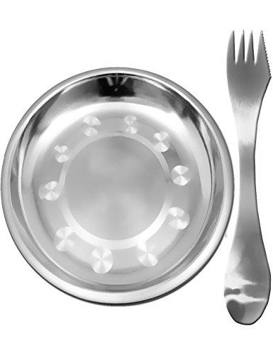 Outdoor Saxx® Picknickset, 3-in-1 reisbestek, lepel vork mes, camping borden roestvrij staal, camping servies, onbreekbaar, roestvrij staal, 2-delig