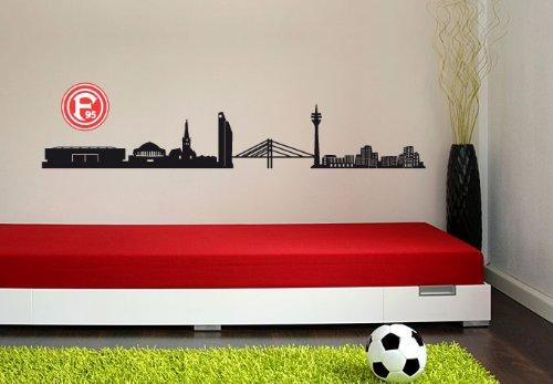 alenio Wandtattoo Fortuna Düsseldorf Skyline mit Logo F95 Fußball Wandsticker Fanartikel 120 cm Breite