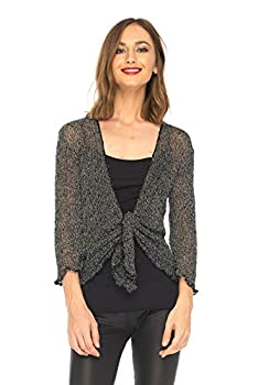 SHU-SHI Womens Sparkly Knit Sheer Shrug Cardigan Lightweight Tie Top Black