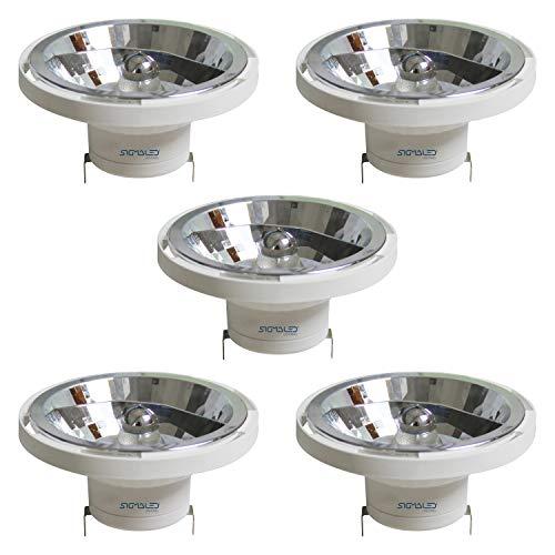 SIGMALED LIGHTING PACK 5 FOCO LED AR111 G53 14W (=120W halógeno), 1050 lúmenes, luz LED blanca natural 4000K. Bombilla led AR111 de bajo consumo de interior, clase de eficiencia energética A+