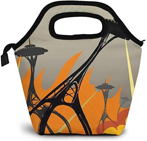 Humorvoller Angriff der Raumnadeln Isolierte Lunch-Tasche Benutzerdefinierte Bento-Box Picknickkühler Tragbare Handtasche Lunch-Einkaufstasche Für Frauen Mädchen Männer Junge