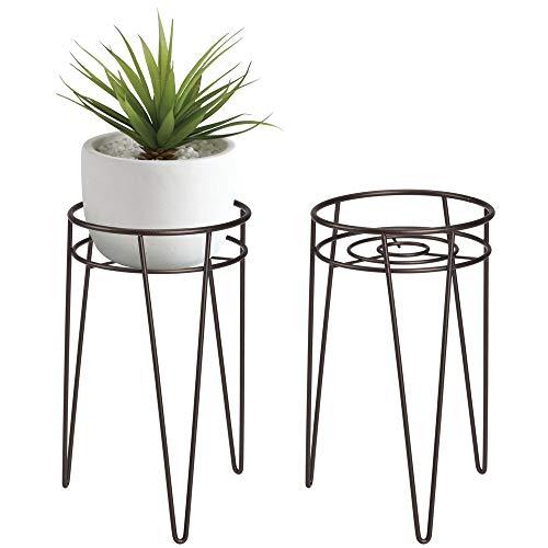mDesign 2-er Set Midcentury Pflanzenständer für Blumen, Sukkulenten aus Metall – runder Blumenständer im modernen Design – platzsparende Blumensäule für drinnen und draußen – bronzefarben