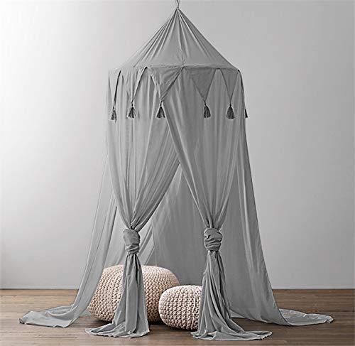 Kids Bed Canopy,Hanging Mosquito Net for Baby Crib Nook Castle Game Tent Nursery Play Room Decor-(Grey)