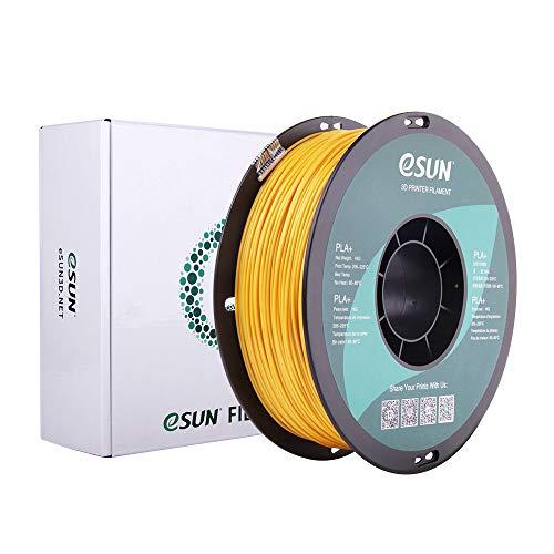 eSUN PLA+ Filament 1.75mm, 3D Printer Filament PLA Plus, Dimensional Accuracy +/- 0.03mm, 1KG (2.2 LBS) Spool 3D Printing Filament for 3D Printers, Dark Yellow