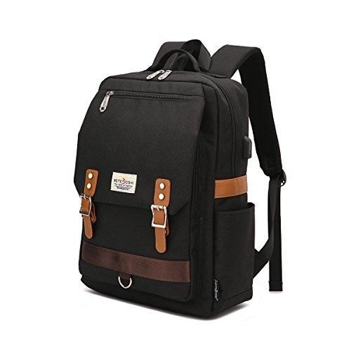 Professional Slim vintage di zaino, casual Durable School College zaino per donne uomini adatto 15 pollice notebook con porta USB di ricarica nero Nero