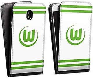 DeinDesign Flip Case kompatibel mit Samsung Galaxy J7 Duos 2017 Tasche Hülle VFL Wolfsburg Offizielles Lizenzprodukt Streifen
