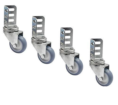 WAGNER Lenkrollen Set 4-teilig (für Hochbeete, mit Metall Anschraubwinkel, Softlauffläche, Durchmesser 50 mm, Tragkraft 50 kg) 02315000, grau
