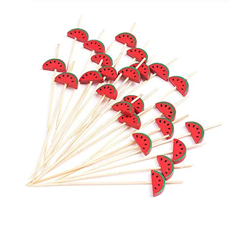 Anchengcraft 100PCS Bamboo Cocktail Toothpicks Decorative Fruit Skewers Appetizer Toothpicks Wooden Party Picks for Appetizer, Drink, Sandwich and Cupcake (11)