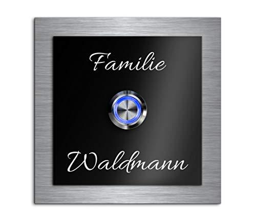 Türklingel mit Gravur LED-Klingelknopf und über 99 Motive 10x10 cm   Modell: Waldmann-As   gravierte Klingel aus Hochglanz Acrylglas und Edelstahl Klingelschild