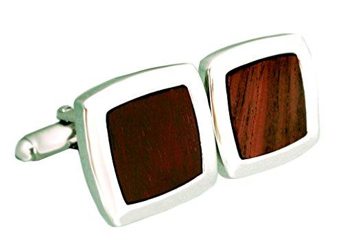 Holz Manschettenknöpfe braun silberfarben glänzend inkl. Geschenkbox