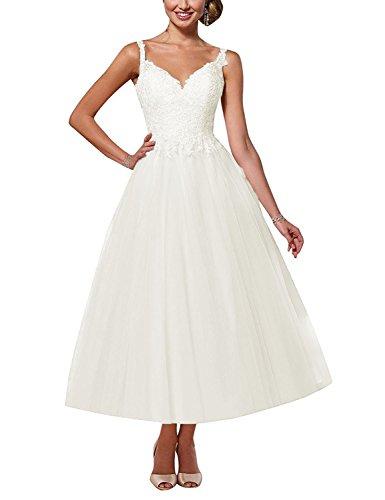 Elegant Brautkleid A-Linie Lang V-Ausschnitt Hochzeitskleid Spitzen Rückenfrei Brautmode Abendkleider mit Träger Elfenbein 36