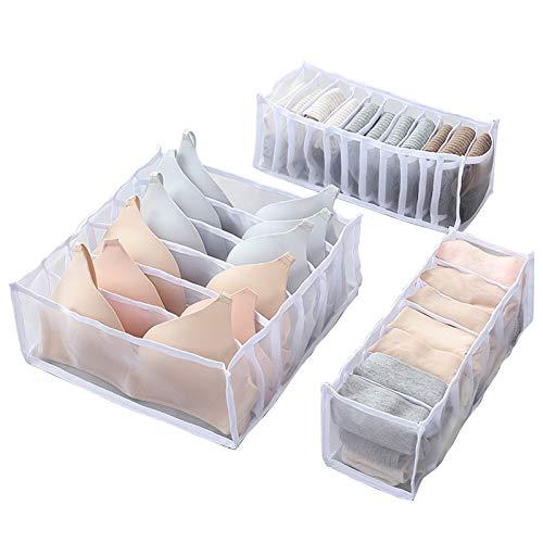 Owoda Unterwäsche Schubladen Organizer, 3 Stück Aufbewahrungsbox Schubfächer Trennfächer für Socken, Krawatten, Unterwäsche und andere kleine Zubehörteile, Weiß