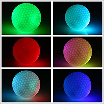 1 Pcs LED Light Golf Ball Best Hit Super Bright Color Flashing Golf Ball 100% Rubber Material LED Night Balls Glow Golf Balls Suitable for Professional Practice Golf Dusk Night Exercise Training