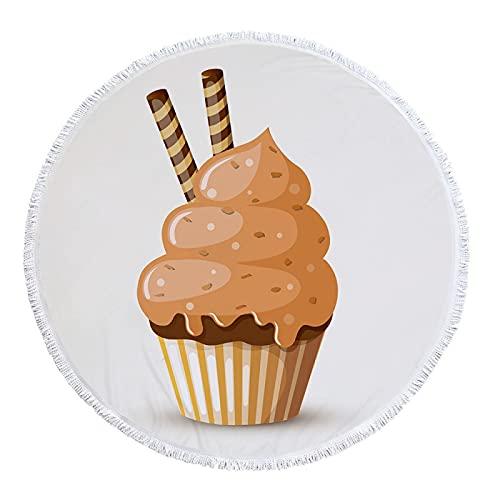 Toalla De Playa De Microfibra De La Serie Ice Cream Fruit Print, Tapete De Playa Redondo, Toalla De Baño De Mantón De Piscina Absorbente De Secado Rápido 150 * 150cm