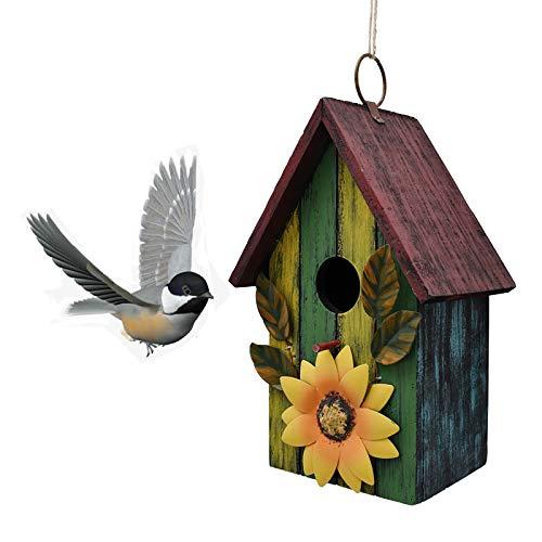 bird houses Wooden Bird Houses for Outside Hanging Garden Patio Decorative Bird Houses Outdoor Hand Painted Birdhouse for Small Bird Finch Cardinal (Yellow Green)