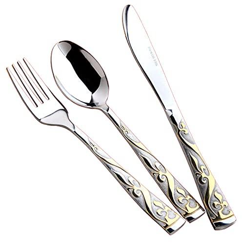 OUDEING Juego De Cubiertos De Cocina,Juego de Cuchillos de Filete de Acero Inoxidable de 24 Piezas, para 6 comensales - Espejo Pulido-Dorado de Lujo 3pcs x6
