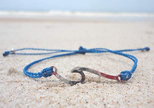 Wave Charm Bracelet-Custom Thread Color-Adjustable Waterproof Wax Coated Bangle-Handcrafted with Ocean Wave-Silver Wave with Custom Thread