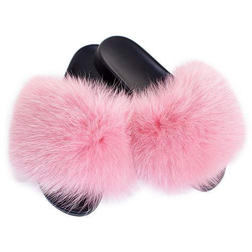 Fell Latschen Pelz Pantoffeln mit rosa Fuchs Echtfell Echtpelz Schlappen Sandalen mit Pelz Pink Fuchsfell Slipper Slides Schuhe Pantoletten (38 EU)