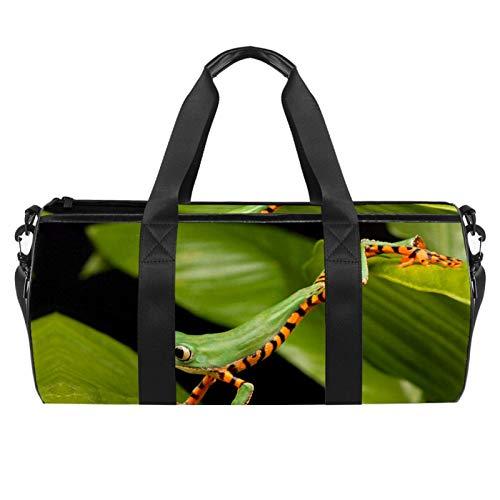 Bolsa de deporte para deporte, diseño de rana, color verde, bolsa de viaje, bolsa de viaje para niños, bolsa impermeable para camping, senderismo, playa, bolsa cruzada de 45 x 23 x 23 cm