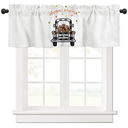 Fall Valances Curtain for Kitchen Window Black White Truck with Football Rod Pocket Valance Thanksgiving Window Treatments Farmhouse Buffalo Check Short Topper Curtains Fall Seasonal Decor,54 x 18 in
