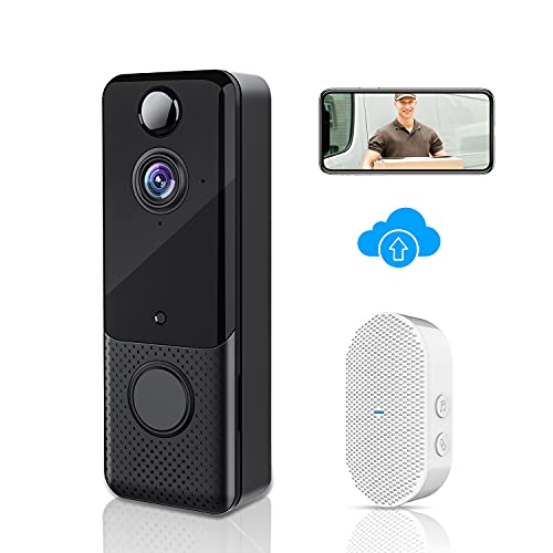 Video Doorbell Camera 1080P Wireless Door Bell with Chime, PIR Motion Detection, Two-Way Audio, Night Vision, Free Cloud Storage, 166°Wide Angle, IP65 Weatherproof, Rechargeable Batteries