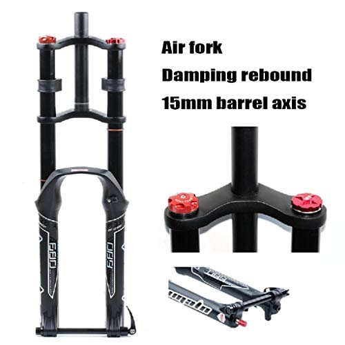 MZP Bike Fork 26 27.5 29 Inch Double Shoulder Control MTB Downhill Suspension DH Air Pressure Straight Tube Bicycle Shock Absorber Rebound Adjust (Color : Black, Size : 26 inch)