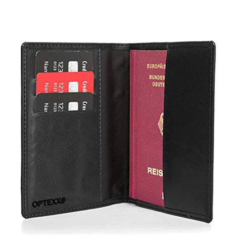 OPTEXX® Pasaporte RFID cartera de piel Mika negro hecho de muscular TÜV probado y certificado