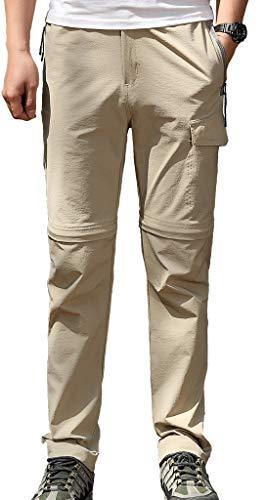 Geval Pantalon de randonnée Convertible Extensible pour Hommes Pantalon Cargo à séchage Rapide UPF 50+ M Kaki