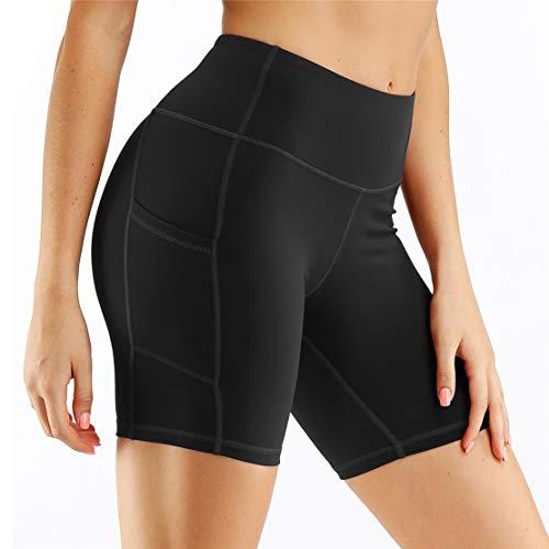 Pantaloncini Sportivi Donna Fitness, Vita Alta Corti Allenamento Corsa Yoga Breve Pantaloni Estivi Elastici Controllo della Pancia Leggings Sportivi con Tasche Laterali (L, Nero)