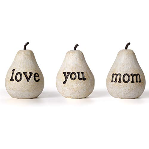 GIRVEM Love You Mom Pears - Gift for mom, Birthday Gift for her, Gift for Women, Gifts for Mothers, Handmade Home Decor, 3 Pack