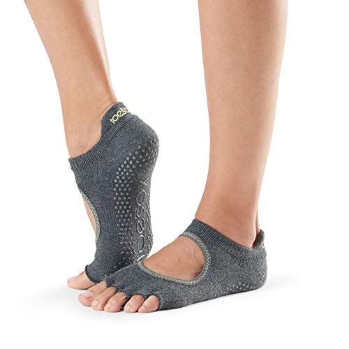 Toesox Half Toe Bellarina calcetines con agarre para Yoga y Pilates, Gris carbón con lima, XS Unisex