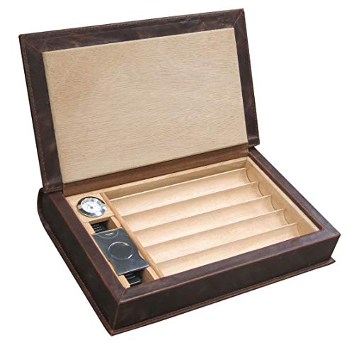 Prestige import group - the novelist leather book travel cigar humidor - holds 5 to 10 - color: brown