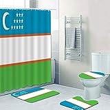 Minyose Modern Usbekistan Usbekistan Flagge Badezimmer Vorhang Set Flagge Usbekistan Duschvorhang Mit Badematten Set Badewanne Home Decor Geschenk 180 * 180Cm