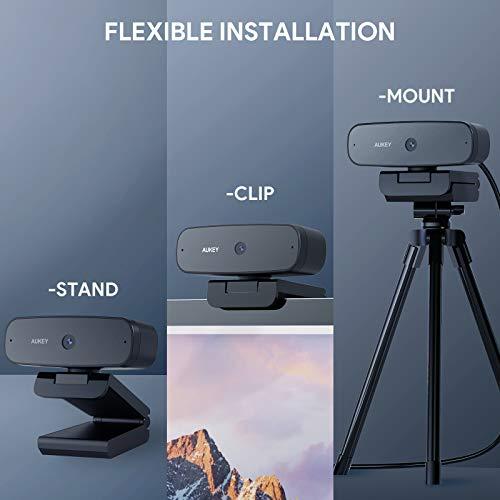 AUKEY Webcam 1080p Autofokus, Streaming-Webcam mit Dual-Stereo-Mikrofon für Videoanrufe, USB-Computer-Webcam mit Flexibler drehbarer Weitwinkel-Full-HD-Aufnahme