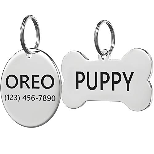 Stainless Steel Pet ID Tag Front and Back Custom for Dog Cat Personalized