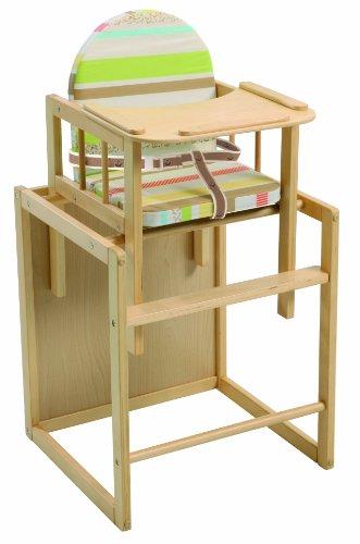 Trona Combi roba, trona con bandeja transformable en silla y mesa independientes, trona infantil en madera natural, asiento tapizado en diseño 'Babyowls'