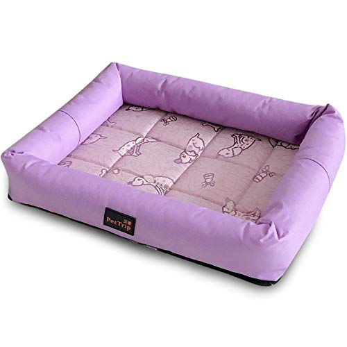 xmwm Spring And Summer Seasons Kennel Pet Nest Teddy Kennel Kennel Kennel Cat Litter Cool Small Kennel Small Dog Kennel,Purple - Ice Silk Mat Nest,L (75 * 60 * 7cm)