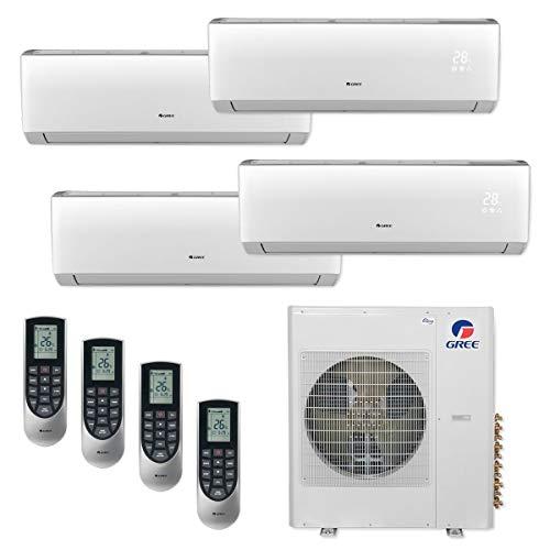 GREE MULTI42CVIR407-42,000 BTU Multi21+ Quad-Zone Wall Mount Mini Split Air Conditioner Heat Pump 208-230V (12-12-12-12)