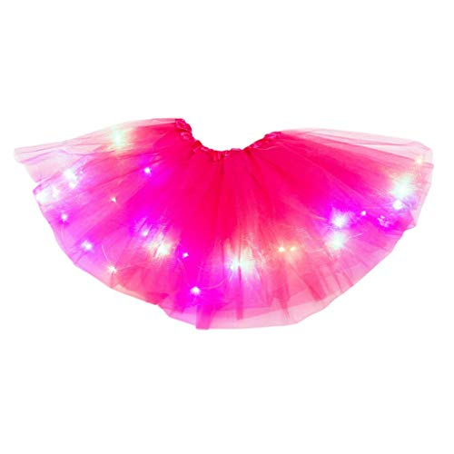 YWLINK Tutú De NiñA De 2-8 AñOs Falda De Malla De Luz LED Falda De Baile Vestido De Princesa Fiesta De Carnaval Disfraz De Rendimiento Grupal Fiesta De CumpleañOs Bautismo