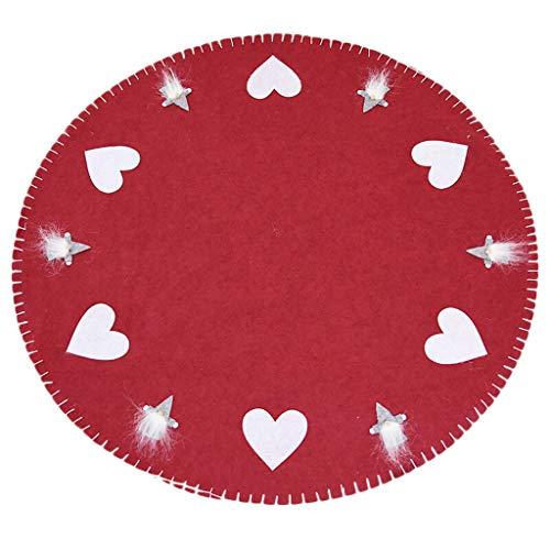 Jupe sapin de Noël, jupe en feutre de laine 100cm, tablier décoratif sapin de Noël, gris rouge (Color : Red)