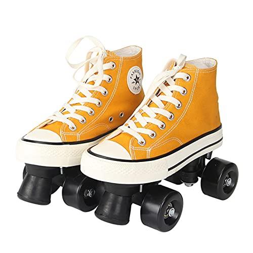Quad- Patín de doble fila para mujer, de lona, con ruedas ligeras, ajustable, clásico, con parte superior alta, para adolescentes y jóvenes (tamaño: 35, color: amarillo y negro)