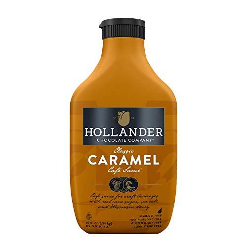 Hollander Caramel Café Sauce | GMO Free |14 fl. oz. Squeeze Bottle | Flip Cap