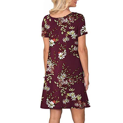 VEMOW Vestido mujer Mujeres verano manga corta floral bolsillos impresos vestido de oscilación ocasional de Sundress(E Vino,XL)