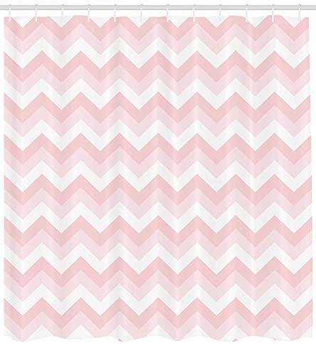 ABAKUHAUS Rosa Duschvorhang, Zickzack Chevron Grunge, mit 12 Ringe Set Wasserdicht Stielvoll Modern Farbfest & Schimmel Resistent, 175x220 cm, Hellrosa Weiß Puder Rosa