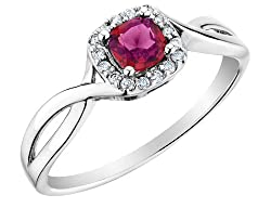Ruby Ring with Diamonds in 10K White Gold