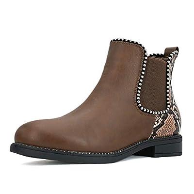 Amazon - Save 50%: Tihoo Women's Snakeskin Chelsea Boots Beaded Trim Ankle Booties