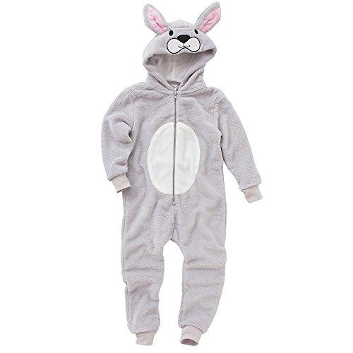Onesies Animal Crazy Girls Rabbit Supersoft Fleece Jumpsuit Playsuit UK Seller - Grey - 5/6 Years