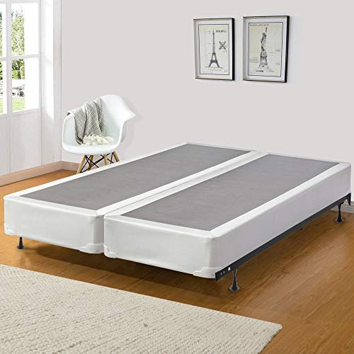 Continental Sleep Fully Assembled Split Wood Traditional Box Spring/Foundation For Mattress Set, Queen, White/Grey