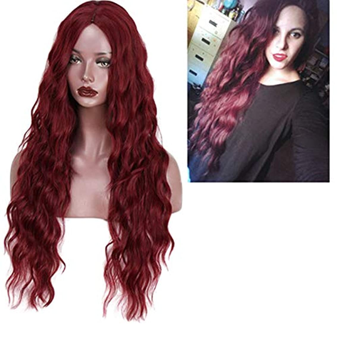 スタジオエスカレーター学校の先生かつら女性150%密度波状の長い巻き毛の合成耐熱繊維の毛